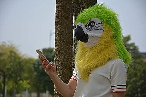 venta AIYASHIWEI-MASKS AIYASHIWEI-MASKS AIYASHIWEI-MASKS Máscaras de Animales para Fiestas Varias Loro rojo simulación Peluda Animal máscara Realista Realista Hecha a Mano Cosplay máscara de Boca móvil (Color   verde, Talla   25  25)  soporte minorista mayorista