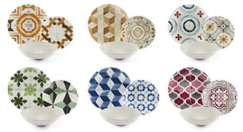 Excelsa Heritage Service d'assiettes 18 pièces, porcelaine et céramique Stoneware