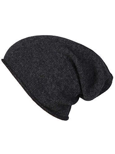 Zwillingsherz Slouch-Beanie-Mütze aus 100% Kaschmir - Hochwertige Strickmütze für Damen Mädchen Jungen - Hat - Unisex - One Size - warm und weich im Sommer Herbst und Winter - ant