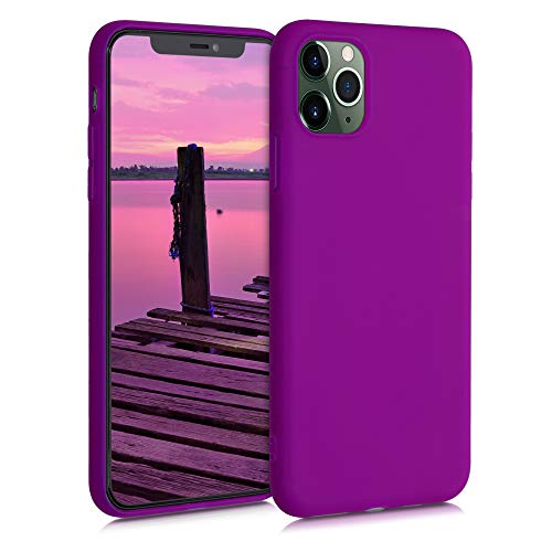 kwmobile Cover compatibile con Apple iPhone 11 Pro Max - Custodia in silicone TPU - Backcover protezione posteriore- viola fluorescente