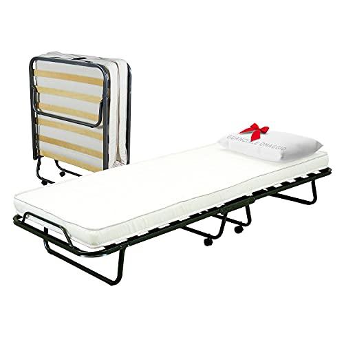 Cortassa - Cama plegable con colchón de poliuretano alto 10 cm - Almohada de regalo - Somier individual con listones de madera de 80 x 200 cm - Cama ahorra espacio con ruedas