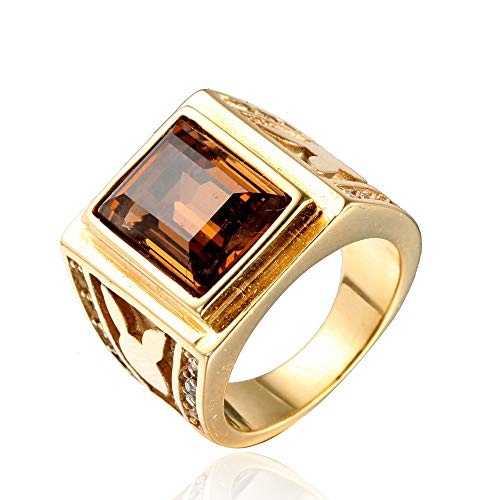 TYJKL Punk Ring Simple Titanium Steel Men's Retro Ring Punk Creative Personality Ring Perfect For Any Gift Giving Occasion (Color : Gold, Size : 13)