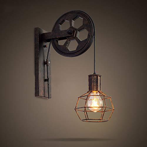Applique murale industrielle vintage rustique rétro lampe murale simple peinture sur métal avec poulie tournant E27 base pour la maison Bar chambre lit Corridor décorer café, bar à vin, club house, ma