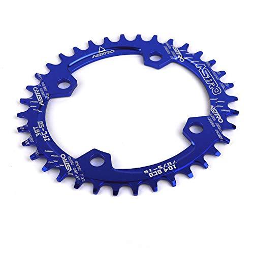 XIAOKUKU Mountainbike Kettenblatt, ovales schmales breites Kettenblatt CNC Edelstahl Verarbeitung BCD104 MTB modifiziertes Single Speed Front Kettenblatt Zubehör,Blau,32T