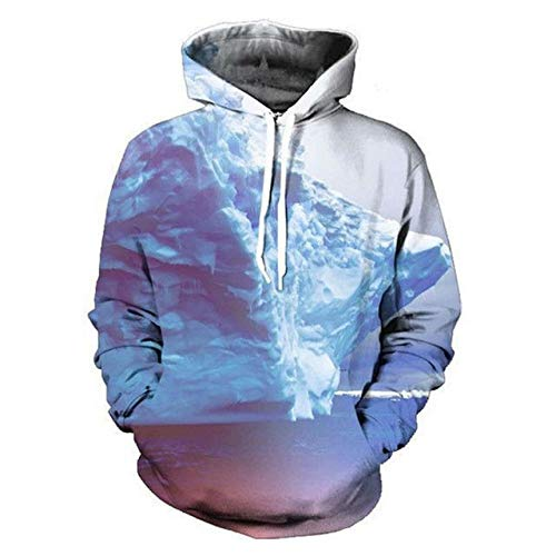 XJBDD Neue 3D Hoodie Lustige Iceberg Print Kapuzenpulli Langarm Hip Hop Style Sweats Tops Herrenmode Trainingsanzug Taschen Pullover