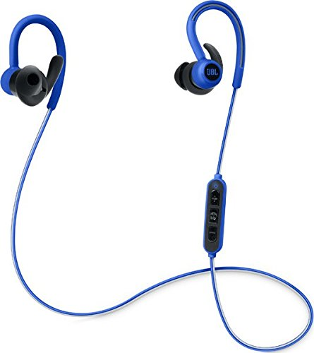 JBL Reflect Contour Kabellose Bluetooth Sport-Kopfhörer mit Over-Ear-Ohrbügel, Dual-Lock-Technologie und 3-Tasten Inline-Fernbedienung mit Mikro - Blau
