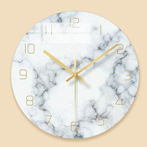 WJXBoos Glas Klar Marmor-textur Wanduhr, 12 Zoll Leise Dekorative Quarzuhr Für Wohnzimmer -Bett-Zimmer Office Kein Ticken-weiß 12 Inch (30 cm)