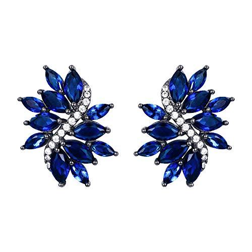 EVER FAITH Mujer Cristal Maquesa Zirconia Flor Hoja Perforado Pendientes Stud