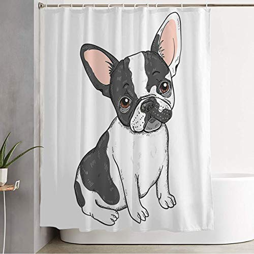 Starojun Bathroom Shower Curtain Cute Pet Frenchie French Bulldog Animals Smile Wildlife Drawing Funny Design Smart Miscellaneous Decorative Bath Curtain Water Proof with Hooks 72x78 Inch