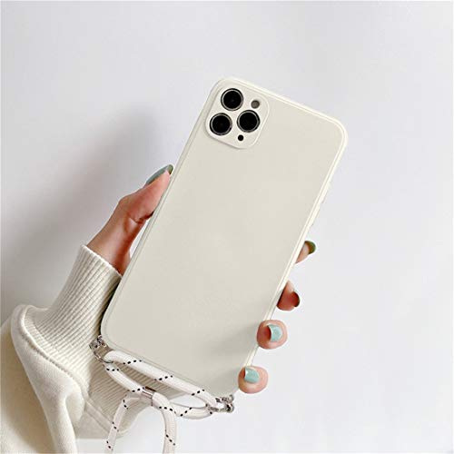 Tybiky Funda para iPhone 12 Pro, diseño de mármol con purpurina, con cordón para colgar, color beige
