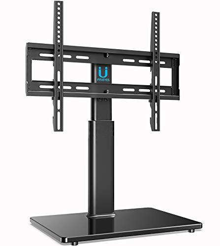 FITUEYES TV Standfuß TV Ständer Fernsehstand für 32 bis 60 Zoll höhenverstellbar Drehbar Glas Max.VESA 400x400 TT104501GB-G