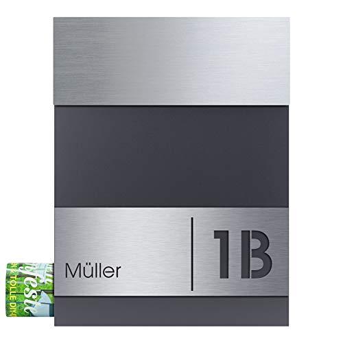 Briefkasten mit Zeitungsfach Edelstahl/anthrazit-grau (RAL 7016) MOCAVI Box 510 Postkasten mit Hausnummer und Name Gravur, moderner Briefkasten Edelstahl-Deckel V4A groß