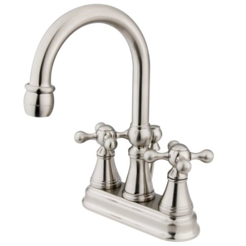 Kingston Brass KS2618KX Governor 4-Inch Centerset Lavatory Faucet with Brass Pop-Up with Knight Cross Handle, Brushed Nickel