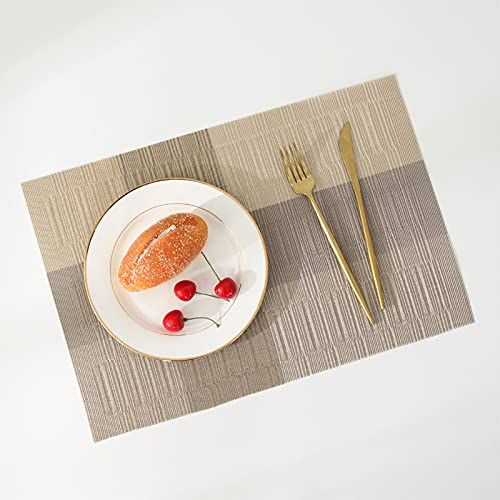Japanese Style Bamboo Gradual Color Matching Western Food Mats, Heat-Insulating Non-Slip Restaurant Table Plate Mats, Coasters, Suitable For Hotels, Coffee Shops