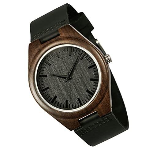 PRETYZOOM Relojes de Pulsera de Madera para Hombre Relojes Inteligentes de Cuarzo Inoxidable