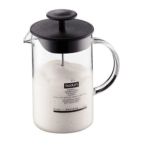 Bodum Latteo Vaporizador De Leche Con Mango De Vidrio 0,25 L / 8Oz Negro (Paquete de 2)