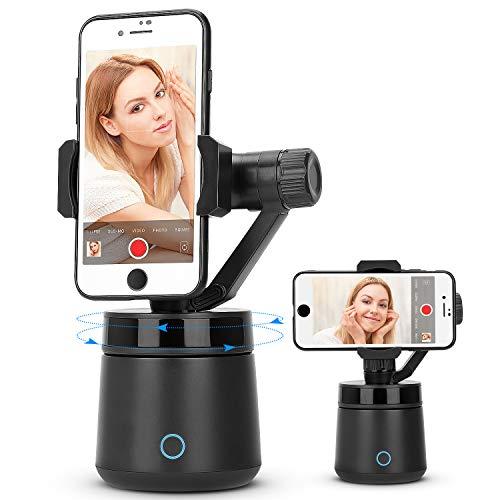 RUMIA Schwarzer Smart Tracking Holder, Rotation Auto Gesichts- / Objektverfolgung Smartphone Gimbal Stabilisator Selfie Stick, Video- / Vlog-Aufnahme Gimbal Robot Cameraman für iPhone/Android