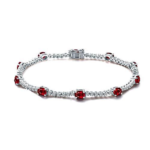 Bishilin Pulsera de Mujer 750 Pulsera de Compromiso Clásico Pulseras de Encanto Rojo Rubí Diamante Pulseras para Mujer Ajuste Cómodo Rund Regalos para Navidad Aniversario Plata