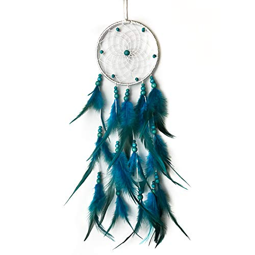 AWLEE Blue Dream Catchers, Handmade Feather Native American Circular Net for Kids Bedroom, Car Interior Decoration, Wall Hanging Decoration Decor Nursery Wall Art Ornament Craft
