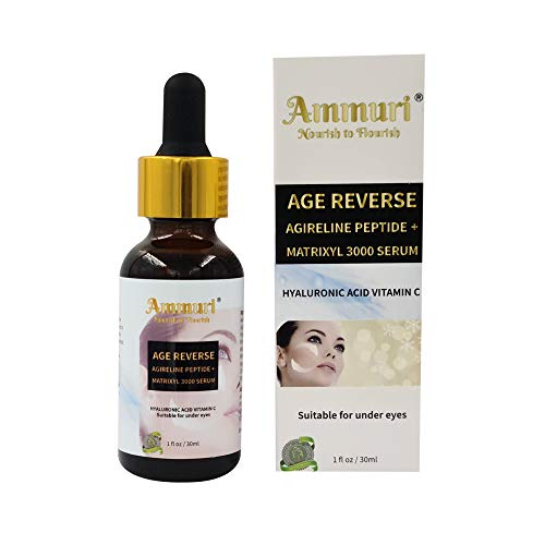 Powerful Anti-Ageing Face Serum Age Reverse with Agireline, Peptide + Matrixyl 3000, with Organic Hyaluronic Acid & Vitamin C for Fine Lines, Sun Spots, Wrinkles. A Powerful Triple Combination