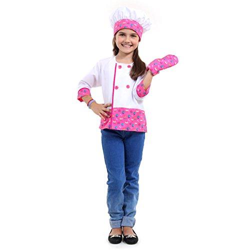 Barbie Chef Infantil Sulamericana Fantasias Branco/Rosa M 6/8 Anos