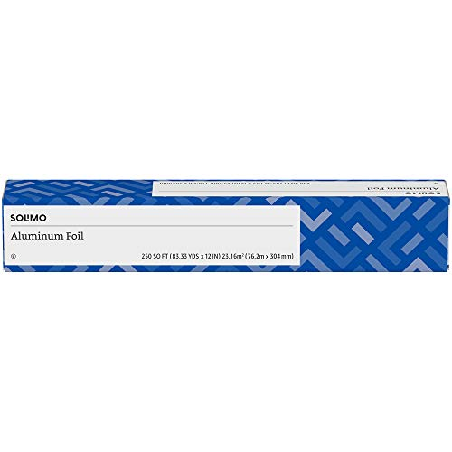 Amazon Brand - Solimo Aluminum Foil, 250 Square Foot Roll, 1-Pack
