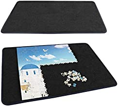 Becko Jigsaw Puzzle Board Portable Puzzle Mat for Puzzle Storage Puzzle Saver, Non-Slip Surface, Sturdy and Movable, Up to 1000 Pieces (Blue/Black)