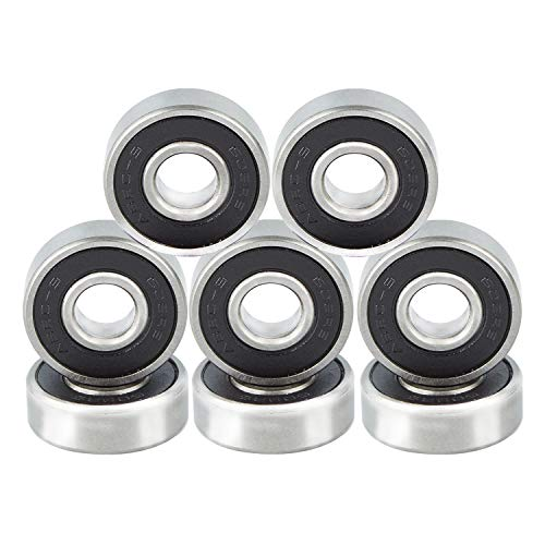 NONMON Rodamientos de Skateboards 8 Piezas de Cojinetes ABEC 9 608RS Bearings,Negro