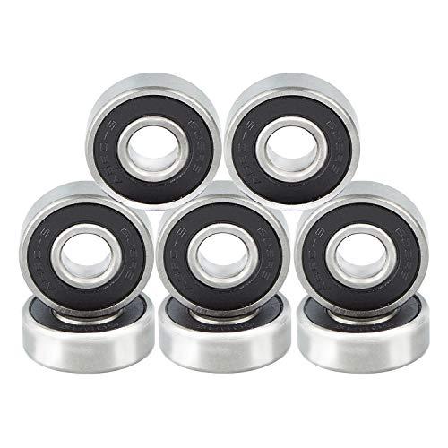 NONMON 608RS Skateboard Kugellager ABEC 9 Bearings für Roller Longboard Scooter Inline Skates (8mm x 22mmx 7mm),Reibungsfreie 8 Stück,Schwarz