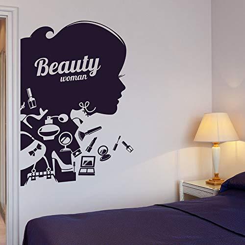 HGFDHG Mujer Silueta Pared calcomanía salón de Belleza Peluquero Maquillaje cosméticos Moda Mural Vinilo Pegatina Chica Dormitorio decoración del hogar