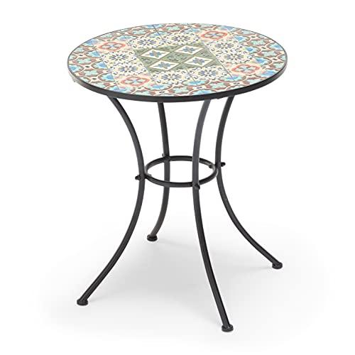 Tavolo Elba per bar e giardini con piano d'appoggio in ceramica 60 centimetri