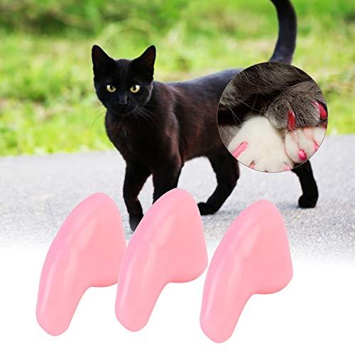 Hffheer Nail Caps, 100 Stks Kleurrijke Zachte Huisdier Kat Klauw Nail Cap Covers Poten Controle met Lijm en Applicators voor Katten Klauwen, Licht Roze M