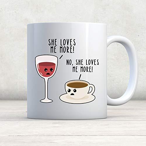 DKISEE Taza de café y vino, para amantes del vino, regalo para amantes del café, regalo de vino, vino vs café, café de amor, vino y bebedor de vino