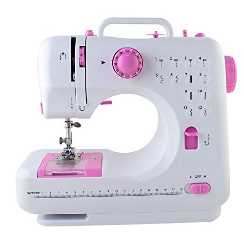 NEX Tragbare Nähmaschine mit Fußpedal Mini Sewing Machine 12 Nähprogramme für Kinder Anfänger