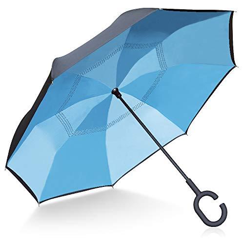 TOOGE Paraplu Inverted/Omkeerbaar, Lange Winddichte Paraplu Dubbele Laag Inside Out Zelfstaand voor Vrouwen en Mannen met Draagtas
