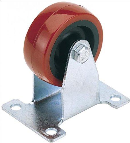 Draper 100 mm. Vaste plaat fixerend polyurethaan wiel - S.W.L. 125 kg.