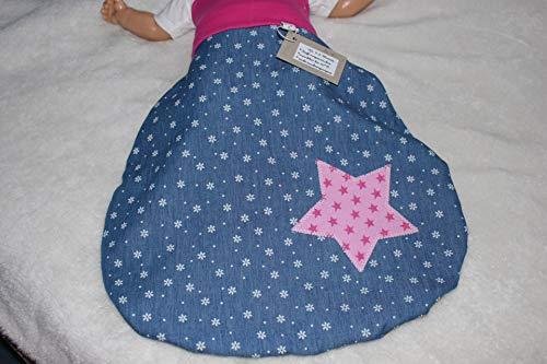 Mollig warmer Pucksack/Strampelsack/Schlafsack *Jeans-Teddy* pink 0-6 Mon. sofort lieferbar