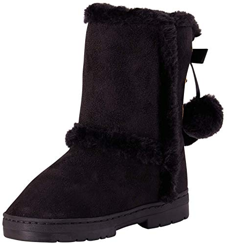 bebe Girls Fur Trimming Winter Boots with Back Lace Up (Toddler/Little Girl/Big Girl) (3 Big Kid, Black)