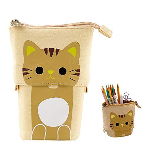 Bolsas telescópicas para lápices Hillento, porta lápices, estuche telescópico para gatos organizador de la pluma de la pluma bolsa de papelería, bolsa de cosméticos pequeña con cremallera, caqui