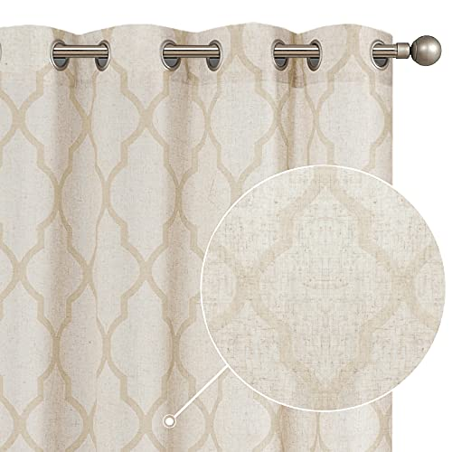 "JINCHAN Moroccan Tile Print Curtains for Living Room Grommet Quatrefoil Flax Linen Blend Drapery Light Reducing Geometry Lattice Window Treatment Set for Bedroom Apartment 2 Panels 50""W x 84""L Beige"