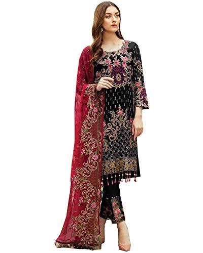 Diseñador indio paquistaní étnico Palazzo Kameez Georgette con bordado trabajo Nazmeen Dupatta Salwar Kameez Party Wear Anarkali Style (Opción 2, L Reino Unido 14 Busto 42 Cintura 38 Caderas 44)