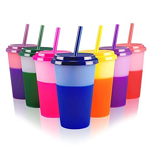 Becher Tasse Trinkbecher mit Strohhalm & Deckel - 350ml Farbwechselbecher Mehrweg Plastikbecher Kinder Tasse Cup Travel Mug Tumbler Eiskaffee Kaltes Trinken Smoothie Saft - 7er Pack