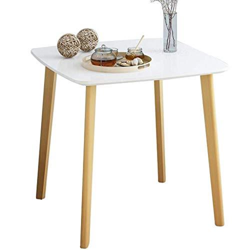 WTT koffietafel rond klein balkon eetkamer woonkamer rond bijzettafel voor kinderen van massief hout eenvoudig multifunctioneel (kleur: wit, afmetingen: 70 x 70 x 74 cm)