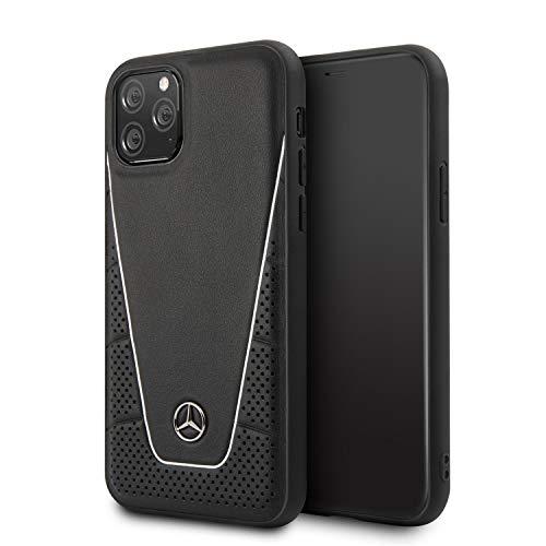 Mercedes Benz MEHCN58CLSSI - Funda rígida de Piel auténtica con Acolchado Perforado y combinación de Piel Lisa, Logotipo de Estrella de Metal para iPhone 11 Pro (5.8), Color Negro y Plateado