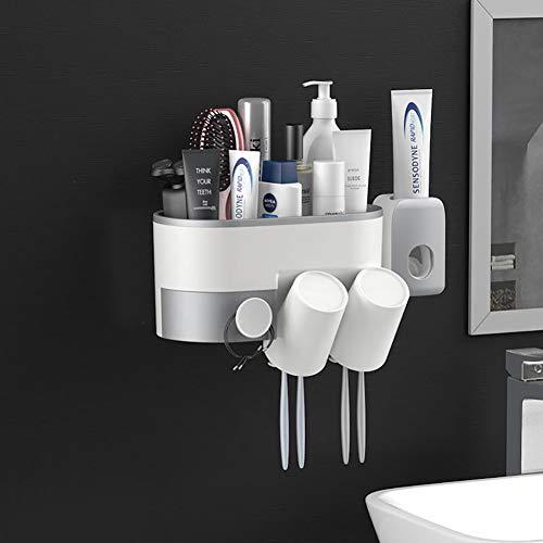 AHEYE - Soporte para cepillos de dientes automático con 2 tazas para almacenamiento de cepillos de dientes para baño (sin taladro) montado en la pared, perfecto para champú,...