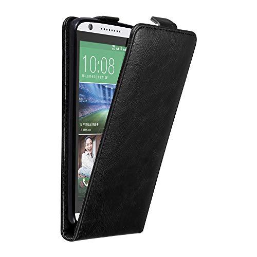 Cadorabo Hülle für HTC Desire 820 in Nacht SCHWARZ - Handyhülle im Flip Design mit Magnetverschluss - Hülle Cover Schutzhülle Etui Tasche Book Klapp Style