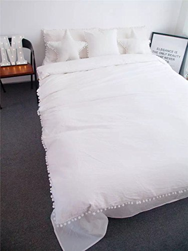 Meaning4 Pom poms Fringe Ivory Cotton Duvet Cover Off White King Size 90 x 104