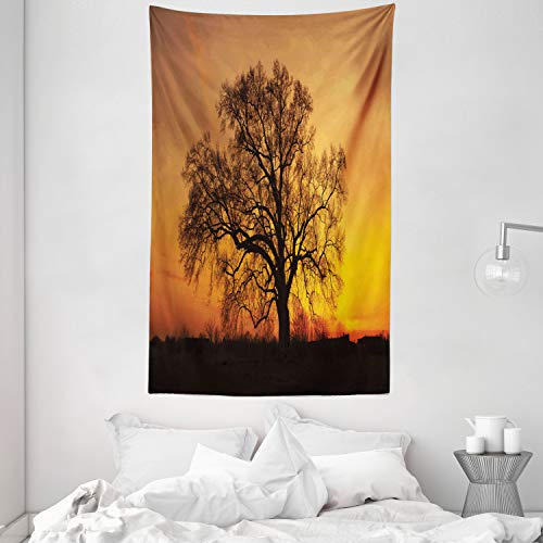 ABAKUHAUS Baum Wandteppich & Tagesdecke Baum Abbildung im Sonnenuntergang einsames emotionales Natur Fotographieaus Weiches Mikrofaser Stoff 140 x 230 cm Waschbar ohne Verblassen Orange Braun