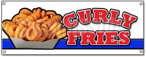Curly Fries Banner Sign Potato Fries Burgers Restaurant Fried Ketchup product image