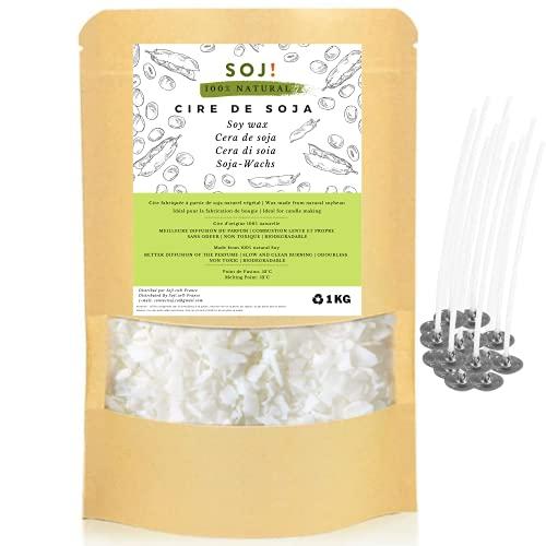 Soj – 15 STOPPINI OFFERTO - cera di soia vegetale 100% pura e naturale per la creazione di candele, cera per candele, cera di soia per candele marca francese – 1 kg
